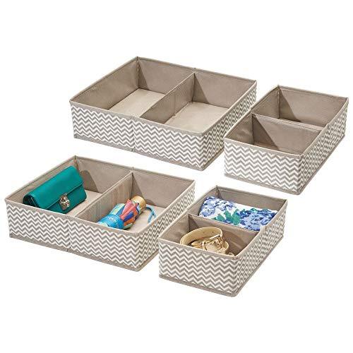 mDesign 4er-Set Stoffbox für Schrank oder Schublade mit je 2 Fächern – die ideale Aufbewahrungsbox (Stoff) – flexibel verwendbare Stoffkiste – taupe/natur