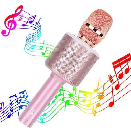 picK-me Inalámbrico Bluetooth Karaoke Micrófono 5 en 1 Singe portátil Karaoke de mano Altavoz de música KTV Music Home Party Birthday Adecuado para Android/PC (Oro rosa)
