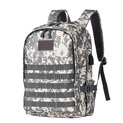 Taktischer Rucksack Militär Rucksack Tarnrucksack Doppelschulter-Außentasche mit USB-Ladeanschluss, Kopfhöreranschluss, Reisecamping für Männer und Frauen
