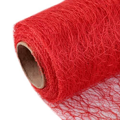 Schnoschi Dekostoff rot, Rolle 9 m x 30 cm, Tischläufer, Dekonetz, Tischband, Netzstoff, Textil-Netzgewebe
