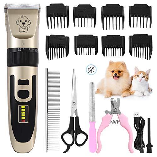 Merisny Tierhaarschneider Hundeschermaschine Haarschneidemaschine für Hund Katze Haustier Schnurlosen Profi Tierhaarschneidemaschine WiederaufladbareElektrische Haarschneider