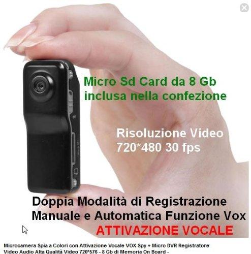 Microcamera Spia Spy Cam + DVR Registratore Video 8 GB con Attivazione Vocale