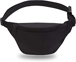 Zip Running Fanny Pack for Women and Men,Canvas Waist Pouch Bag with Adjustable Strap for Outdoors Workout Running,Hiking,Traveling,Biking,Rave and Festival
