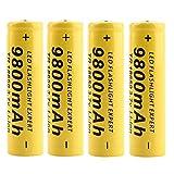 4 Stück Gelb18650 Batterie 3.7V 9800Mah wiederaufladbare Li-Ionen-BatterieButton Top Battery Pour LED-Taschenlampen-Taschenlampenzellen Fernbedienung Elektronische Geräte Spielzeug...