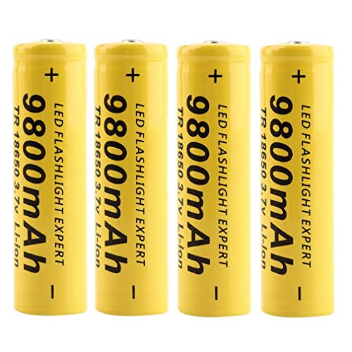 4 Stück Gelb18650 Batterie 3.7V 9800Mah wiederaufladbare Li-Ionen-BatterieButton Top Battery Pour LED-Taschenlampen-Taschenlampenzellen Fernbedienung Elektronische Geräte Spielzeug Digitalkameras