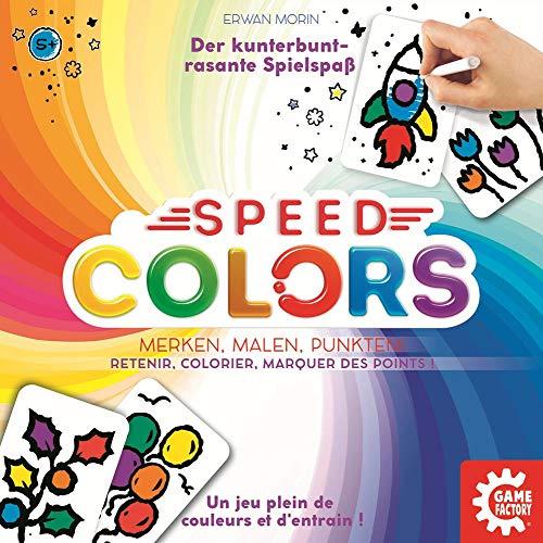 Game Factory 646193 Speed Colors, Merkspiel zum Ausmalen, Kinderspiel, ab 5 Jahren