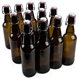 16 oz. Grolsch Glass Beer Bottles, Pint Size – Airtight Swing Top Seal Storage for Home Brewing of Alcohol, Kombucha Tea, Homemade Soda by Cocktailor (12-pack)