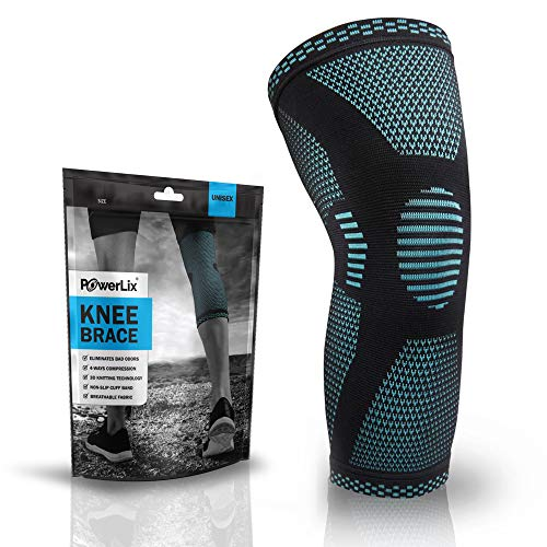 POWERLIX Knee Compression Sleeve - Best Knee Brace for Knee Pain for Men & Women – Knee Support for Running, Basketball, Volleyball, Weightlifting, Gym, Workout, Sports – Please Check Sizing Chart