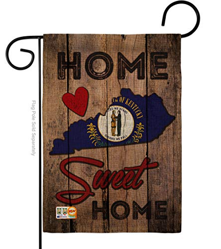 Ornament Collection G191139-DB State Kentucky Home Sweet Burlap Americana States Impressions Decorative Vertical 13' x 18.5' Double Sided Garden Flag
