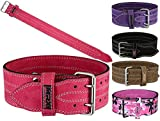 MRX Powerlifting Leather Belt 4' Wide 10mm Thickness Training Fitness Back Support Bodybuilding Belts with Steel 2 Prong Buckle Pink (Medium)