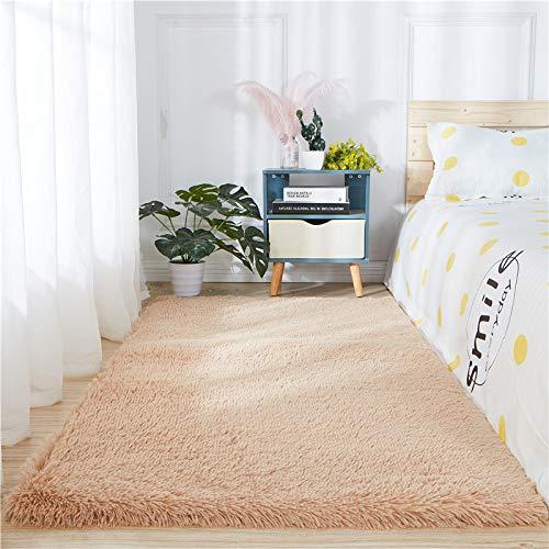 Tappeto lungo in finta pelliccia di pecora con pelo lungo, per divano, lavabile, antiscivolo, per camera da letto, divano, pavimento, colore cammello chiaro, 1,2 m x 1,8 m