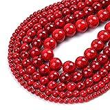 Natural rojo turquesa piedras preciosas perlas redondas sueltas para joyería DIY haciendo encantos pulsera 15 pulgadas 4/6/8/10/12 mm rojo 10mm 37pcs perlas