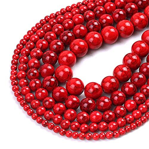 Natural rojo turquesa piedras preciosas perlas redondas sueltas para la joyería DIY haciendo encantos pulsera 15 pulgadas 4/6/8/10/12 mm rojo 8mm 48pcs granos