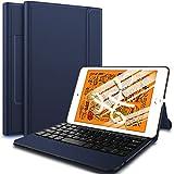 IVSO Tastatur-Schutzhülle für iPad Mini 5, kabellose Hülle mit Tastatur, ultraleicht, stoßfest, einteilig, kabellose Tastatur, Ständer für iPad Mini 5 Tablet blau