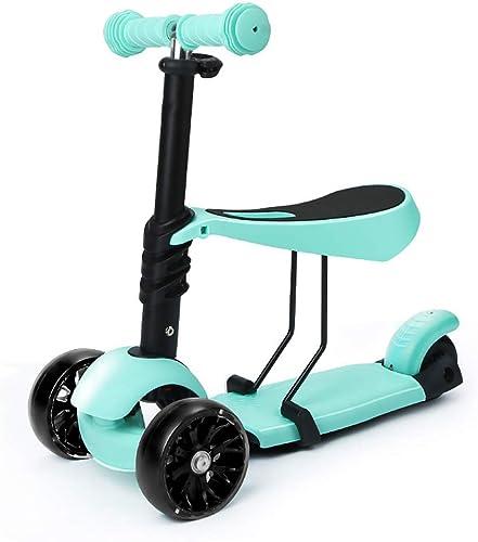 TBY Baby-Roller, Kinder-Roller, 3-in-1-Mini-Tretroller mit LED-Blinkr rn Abnehmbarer Sitz für Jungen mädchen 1 bis 8 Jahre alt,Blau