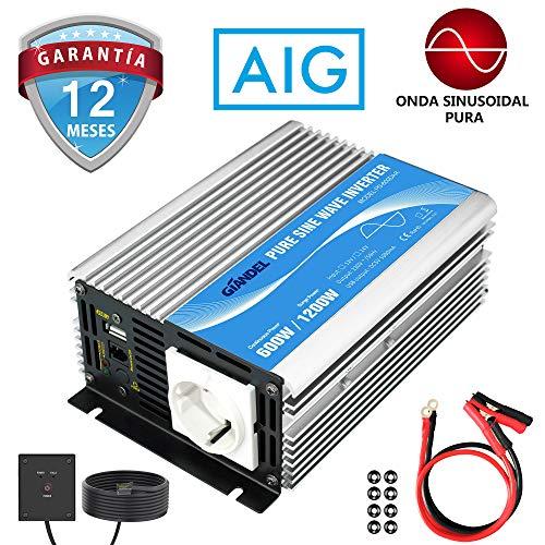 Giandel Inversor de Corriente 600w DC 12v a AC 220v 230v Onda sinusoidal Pura Convertidor...