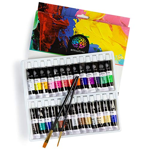 OfficeTree Acrilicos para Pintar 26 Tubos de 12 ml - Base de