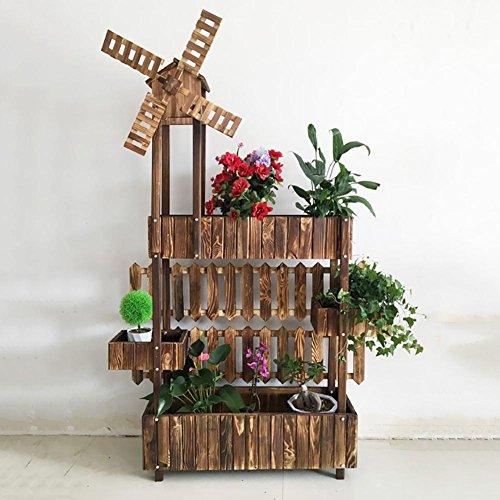 RJZHJ rural Bois massif Bois de pin couper Boîte à fleurs Support de fleurs jardin patio Peut tourner Moulin à vent Pot de fleurs Bonsai cadre balcon plante Présentoir , Brown , 76*165cm