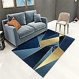 Kunsen Decoration Chambre ado Fille Pas Cher Tapis de Salon Rectangle Doux Moderne géométrique Bleu Or lit Moderne Tapis pour Chambre 140X200CM 4ft 7.1' X6ft 6.7'
