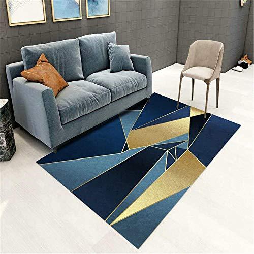 """Kunsen Decoration Chambre ado Fille Pas Cher Tapis de Salon Rectangle Doux Moderne géométrique Bleu Or lit Moderne Tapis pour Chambre 140X200CM 4ft 7.1"""" X6ft 6.7"""""""