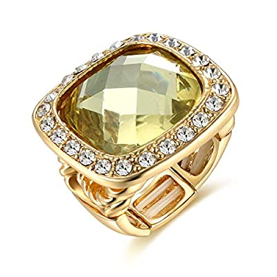 Poem&Future Girl's Alloy Acrylic Square Ring Women's Adjustable Rhinestone Stretch Finger Ring Novelty Jewelry for Cocktail Party (Yellow)