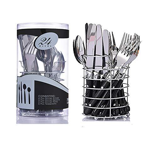 Alaskaprint Juego de cubiertos de 24 piezas Juego de cubiertos de acero inoxidable con cuchillo, tenedor, cucharilla y cuchara para 6 porciones (plateado sobre negro)