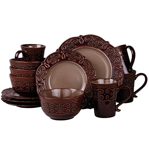 Elama Round Decorated Stoneware Scallop Embossed Dinnerware Dish Set, 16 Piece, Salia