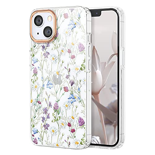 zelaxy Flower Case Compatible with iPhone 13 6.1' 2021, Soft & Flexible TPU Shockproof Cover Flower Garden Patterns Full Body Protective Floral Phone Case for Girl Woman (Garden)