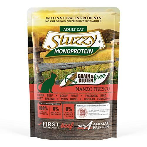 Stuzzy, Comida húmeda para Gatos Adultos, Sabor Carne de Buey Fresca, paté monoproteínico sin Trigo ni Gluten - Total 1,36 kg (16 Sobres x 85 gr)