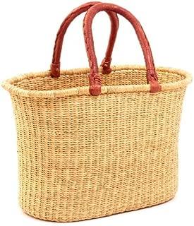 Fair Trade Ghana Bolga African Dye-Free Oval Shopper 15-17