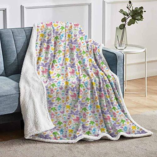 YUAZHOQI Manta para sofá de bebé, cigüeña con juguetes de conejito recién nacido, botellas de leche, artículos infantiles, dibujos animados, mantas para sofá silla de estar de 152 x 203 cm, multicolor