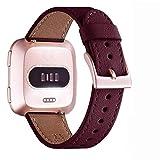 WFEAGL per Cinturino Fitbit Versa Pelle, Braccialetto di Ricambio Premium Pelle Cinturinio per Fitbit Versa/Versa 2 /Versa Lite/Versa SE Fitness Smart Watch(Vino Rosso+Fibbia Oro Rosa)