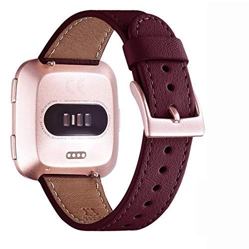 WFEAGL für Fitbit Versa Armband,Lederband Ersatzband mit Edelstahl-Verschluss kompatibel für Fitbit Versa/Versa 2 /Versa Lite/Versa SE Fitness Smart Watch(Wein+Roségold Schnalle)