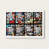 Aya611 Hot Game Cover 5 GTA Hot Video Game Art Canvas Painting Poster Wall Home Decor50x70 CM Sin Marco