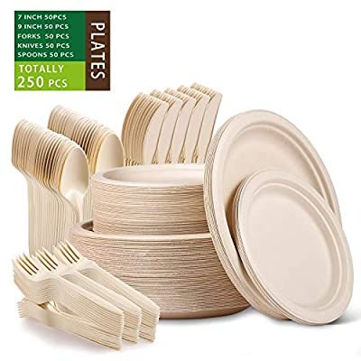 Paper Plates Heavy Duty,Paper Plates Set,Dinner Plates Set,Sugarcane Disposable Paper Plates Set Eco,9 Inch and 7 Inch Party Plates,Forks,Knives and Spoons Set for 50 People [250 PCS]