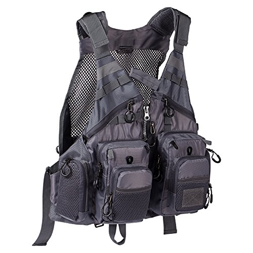 Bassdash Strap Fishing Vest Adjustable for Men and Women, for Fly Bass Fishing and Outdoor Activities Grey