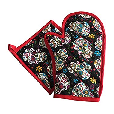 Jumpsies Sugar Skull Pot Holder Oven Mitt Set of 2 Pieces (red)