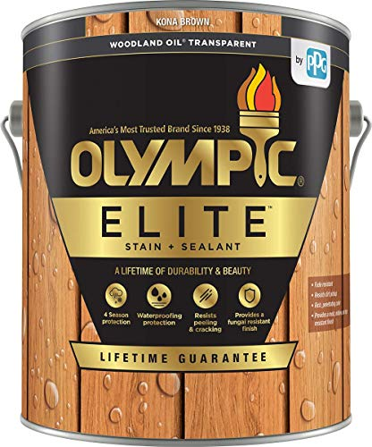 cheap Olympic Stain Elite Wood Stain Woodland Oil Clear color with low VOC sealant Kona …