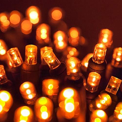 70 5mm Amber LED Christmas Lights, 24 Orange Halloween Lights LED String Lights Halloween Decorations Outdoor Christmas String Lights Mini Lights Outdoor Tree Lights