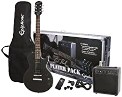 Epiphone's Les Paul Player Pack has everything you need to start playing guitar right away It includes a genuine Les Paul Special-II LTD guitar featuring two classic hum bucker pickups and a 10-watt Electra guitar amp with a 10ft guitar cable Epiphon...