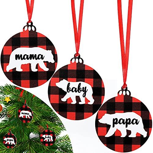 AETOK 3 piezas 2021 Primera Navidad como una familia de tres adornos mamá papa bebé oso adorno de Navidad Buffalo Plaid Navidad para bebé nuevos padres