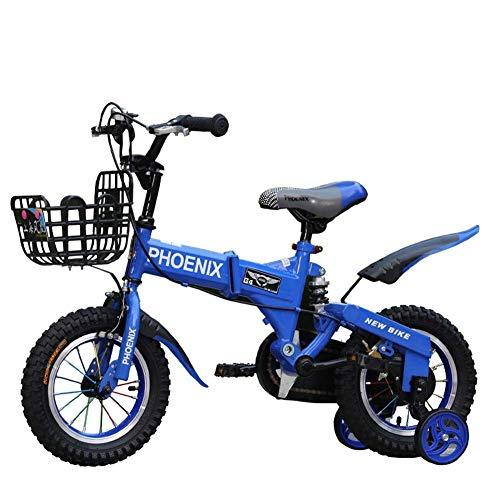 """Kinderfahrräder mit Stabilisatoren Klapprad Klapprad 6-9 Jahre alt Kinderwagen 12/14/16/18 Zoll Jungen und Mädchen Fahrrad mit Stützrädern Kinderfahrrad Fahrrad Kinder ( Color : Blue , Size : 16\"""" )"""