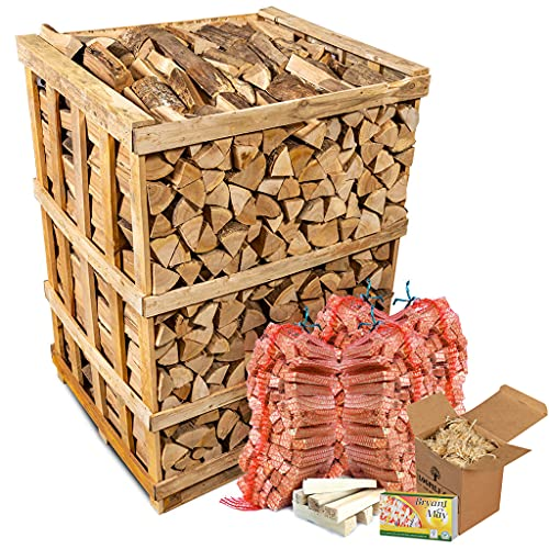 Hardwood Logs. 800 Kg Crate. Kiln Dried Hardwood Logs. Crated Bulk kit. Complete with 4 kindling nets, firelighters and Matches.