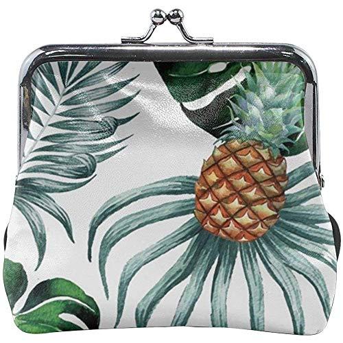 Aquarel ananas bladeren klassieke gesp portemonnee leder Kiss-Lock portemonnee