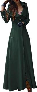 Wadonerful Trench Outwear Womens Stand Collar Long Sleeve Full Length Wool Jacket Coat Zip Detachable Hem Slim Overcoat