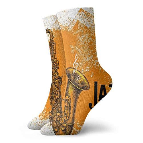 Verrückte Crew Socke Jazz Musik Klassisches Saxophon mit Musiknoten Gedruckt Sport Athletic Socks Tube Socks Geschenksocken
