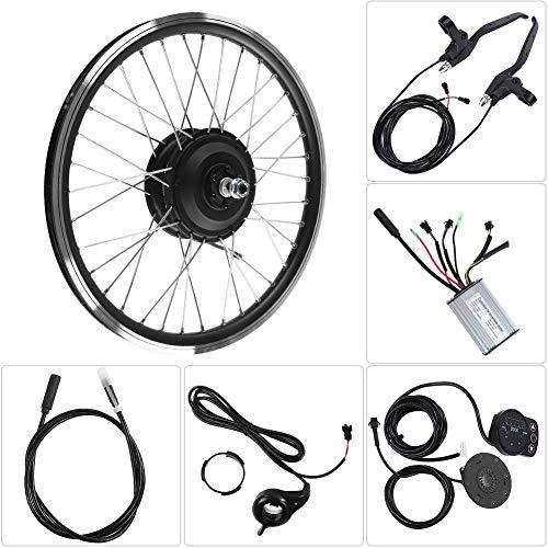 Jacksking Kit de conversión de Bicicleta eléctrica, Motor de 36V/48V 350W Pantalla LED KT900S Rueda de 20