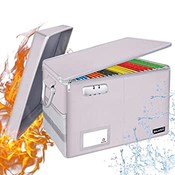 Fireproof File Box with Lid BALAPERI Portable File Box with Handle Locking File Organizer Storage Box for Hanging Letter/Legal Folders Collapsible Office Home File Storage Bin with Label