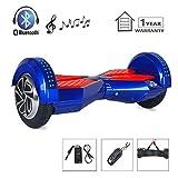 Megawheels Patinete Electrico Self Balance Scooter 8 Pulgadas 700W Motor con Bluetooth+LED+Bolsa de Transporte+Certificación CE RoHS UL (Azul & Rojo)