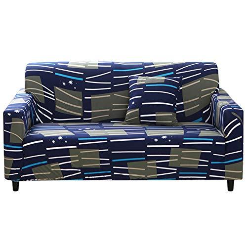 SZHWLKJ Funda de sofá impermeable, elástica, a prueba de polvo, funda de sofá, protector de cojín, impresión elástica, todo incluido, para sofá de 145 a 185 cm